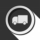 pic of lorries  - black icon with lorry car and white stylized shadow - JPG