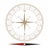 image of compass rose  - compass rose isolated on white background vector illustration - JPG