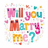 foto of married  - Will you Marry me retro typography lettering decorative text design - JPG
