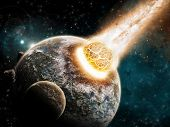 pic of meteorite  - View of a planet from space during meteorite impact - JPG
