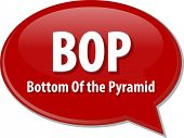 foto of bottom  - word speech bubble illustration of business acronym term BOP Bottom of the Pyramid - JPG