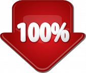 pic of 100 percent  - Downward glossy red arrow percent discount one hundred 100 - JPG