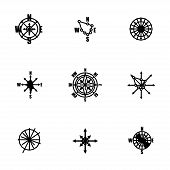 foto of wind-rose  - Vector Wind rose icon set on white background - JPG
