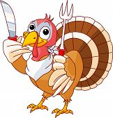 stock photo of turkey dinner  - Thanksgiving Turkey with knife and fork - JPG