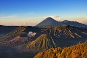 stock photo of bromo  - Mount Bromo during sunrise with light and shadow - JPG