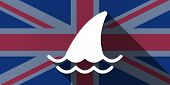 image of fin  - Illustration of an UK flag icon with a shark fin - JPG