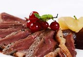stock photo of duck breast  - Duck breast in wine sauce close up