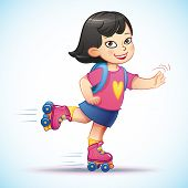 picture of roller-skating  - Little asian girl  rides on roller skates - JPG