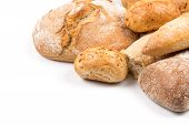 stock photo of bread rolls  - Composition with bread buns and rolls isolated on white background - JPG