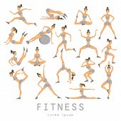 Постер, плакат: Vector Yoga Set Women Sketch Asana Girl Exercises Healthy Lifestyle