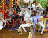 picture of carnival ride  - Fairground ride a horses - JPG