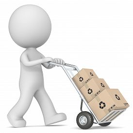 image of hand-barrow  - The dude 3D character pushing Hand Truck with pile of Cardboard Boxes - JPG