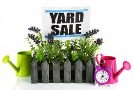 stock photo of yard sale  - Heap of unwanted stuff ready for yard sale isolated on white - JPG