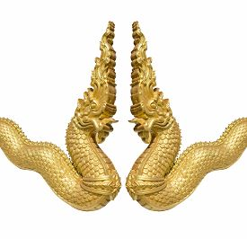 pic of serpent  - gold serpent statue isolated on white background thai art - JPG