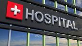 Hospital building sign closeup, with sky reflecting in the glass. 3d rendering poster