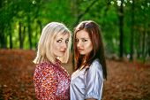 A Beautiful Brunette And Blonde  In  Green Mysterious Forest