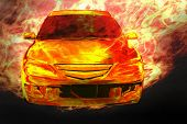 foto of high-octane  - car on fire 3d illustration concept image - JPG