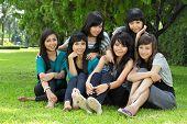 happy girls sitting together