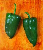 stock photo of poblano  - Poblano chili peppers chile typical ok mexico - JPG