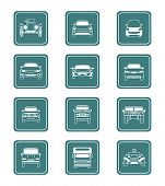 Modern and vintage cars icon front view collection in vector.