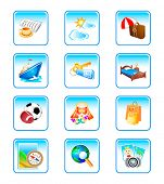 Vacation, travel, holiday objects in colorful vector icon-set.