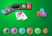 Fichas de poker, blackjack y otros juegos de mesa en editable vector.