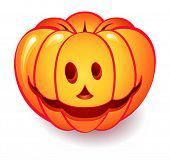 Funny Halloween pumpkin isolated over white