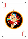 Sly harlequin head at the center of Joker playing card