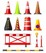 image of safety barrier  - Collection of different traffic cones - JPG