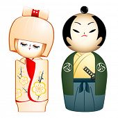 Geisha and Samurai custom-designed Kokeshi-dolls