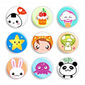 Set of badges with the cute japanese style characters