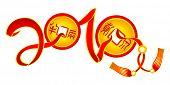 Letras de año nuevo 2010 de cintas y monedas chinas de la suerte