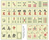 Custom-designed Mahjong whole set over the wood pattern isolated.