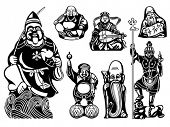 Japanese seven Lucky Gods - Ebisu, Hotei, Benzaiten, Juroujin, Daikoku, Fukurokuju, Bishamonten
