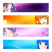 Colorful anime banner or sider backgrounds. Base banner size is 120x600.