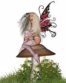 image of faerie  - Pretty blonde fairy sitting on a toadstool - JPG