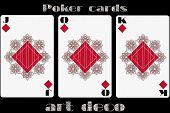 Постер, плакат: Poker Playing Card Jack Diamond Queen Diamond King Diamond Poker Cards In The Art Deco Style St