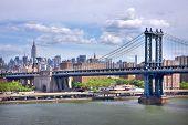 view of the Manhattan Bridge and Manhattan skyline