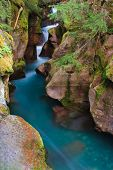 Glacial Blue Water Rushing Through Avalanche Gorge poster