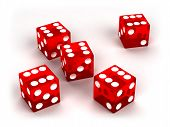 Six Red Glass Dices