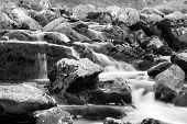 Welsh Waterfall In Black And White