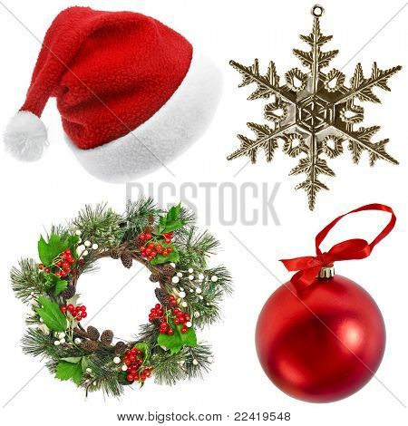 Постер, плакат: Рождественские украшения на белом фоне, холст на подрамнике