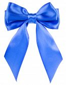 stock photo of ribbon bow  - blue  gift satin ribbon  bow isolated on white background - JPG