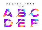 Vector Colorful Typeset. Blue, Pink, Purple Neon Colors. Liquid Bright Paint Effect. Urban Techno Ty poster