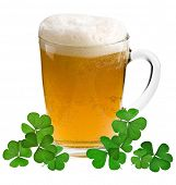 stock photo of glass frog  - Shamrock clover and beer  - JPG
