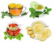 Herbal and fruit teas,Collection isolated on white background
