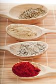 spice powder mix in a wooden spoons on a bamboo napkin