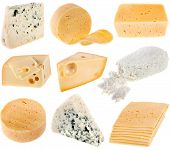 cheese collection on white background