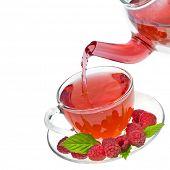 Raspberry tea isolated