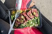 Meal prep fitness lifestyle - Woman taking food selfie top view photo of her prepared ready to go lu poster